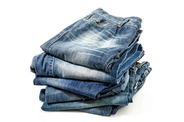 Folded Old Blue Jeans . Clipping path included.