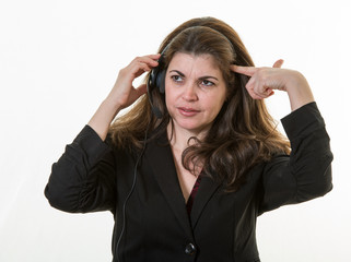 Frustrated woman in a call center