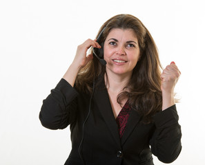 Woman in call center little frustrated