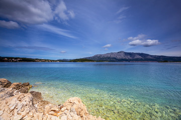 picturesque view of seaside of Lumbarda. Korcula. Croatia.