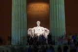 Lincoln Memorial statue at night