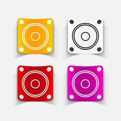 realistic design element: small music speaker