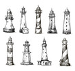 set of cartoon lighthouses. icons. pencil drawing style. - 61502120