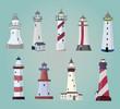 set of cartoon lighthouses. Flat icons. - 61502123