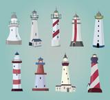 set of cartoon lighthouses. Flat icons.