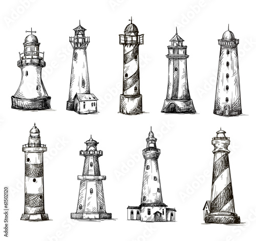 set of cartoon lighthouses. icons. pencil drawing style.