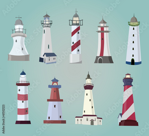 set of cartoon lighthouses. Flat icons.