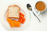 Top Above View of Sandwich, Chips, Carrots, Coffee