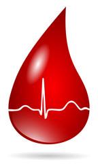blood drop with ekg