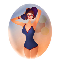 Retro Woman in Swimsuit with hat