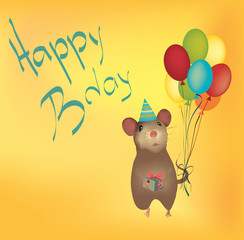 Happy Birthday Card with Balloons and mouse