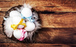 Easter nest with Eggs,  ribbons and white feathers on wooden bac