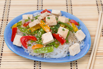 salad with rice noodles, vegetables and tofu