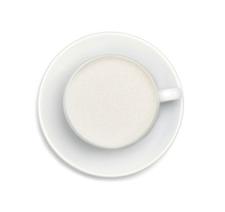 sugar in a white coffee cup and saucer isolated on white
