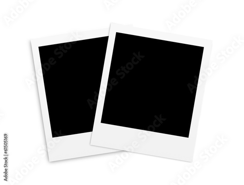Two photo papers polaroid card isolated on white