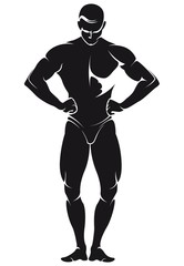 vector image with bodybuilder, silhouette
