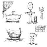 Bathroom interior elements. hand drawn