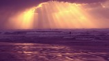 The Stormy Weather - Sunset beam over sea
