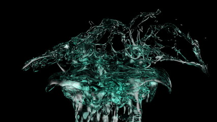 turquoise water splash in extreme slow motion, isolated on black