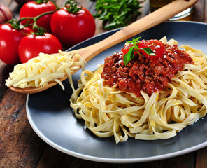 Noodles pasta with bolognese sauce