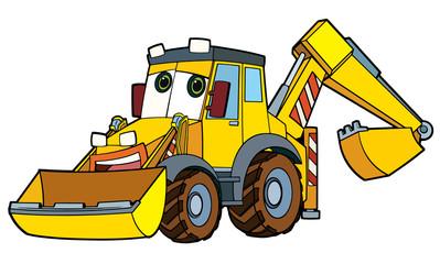 Colorful excavator - illustration for the children
