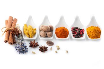 Spices curry, paprika, nutmeg, cinnamon