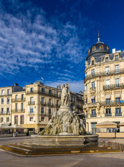 Fontaine des Trois Graces on place de la Comedie in Montpellier,