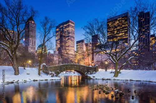 canvas print picture Gapstow bridge in winter, Central Park