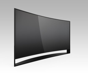 4K curved television isolated on gradient background