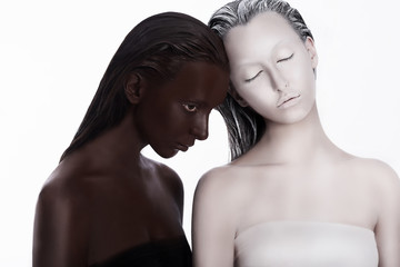 Multiracial Multicultural Concept. Women Colored Brown and White