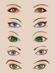 Design set of five pairs of female eyes. Beauty and make-up