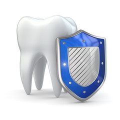 Teeth protection concept. Shield and tooth.