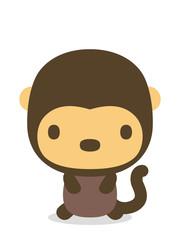 十二支 二頭身正面イラスト 猿