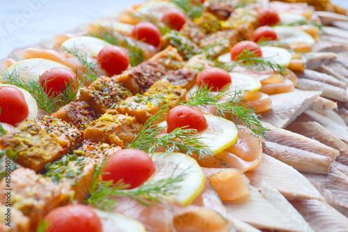 Fotobehang Buffet, Bar Fischplatte
