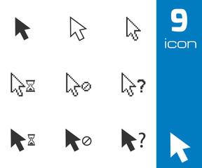 Vector black mouse cursor icons set