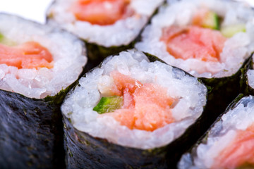 Macro photo of roll with salmon