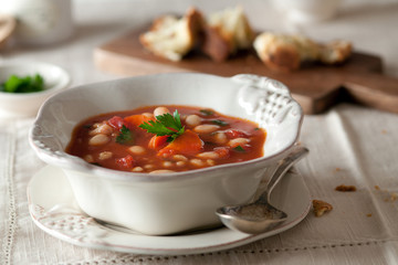 A bowl of vegetable bean soup.