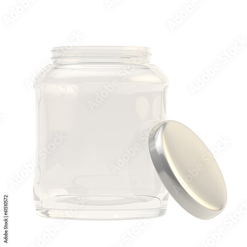 Metal cap next to a glass jar