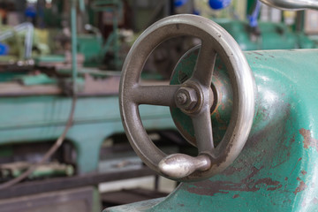 Hand wheel of old metal working lathe