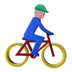 Cyclist icon with protective helmet