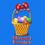 postcard with Easter eggs in the basket on a blue background