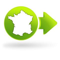 carte de france sur symbole web vert