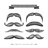 Mustache hand drawn set isolated