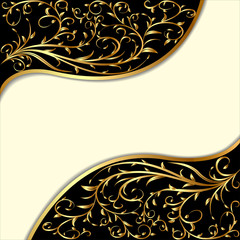 background with gold ornament and waves