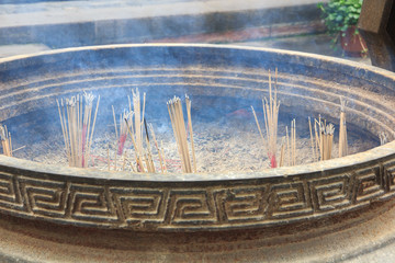 Detail of incense holder in Chinese temple