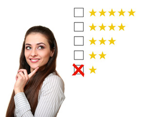 Thinking woman choosing one star rating. Negative feedback