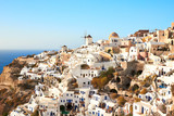 view of Oia village on Santorini island, Greece.