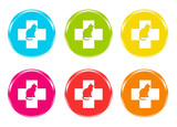 Set of colorful icons with veterinary symbol