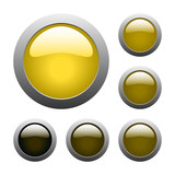 vector yellow glass buttons