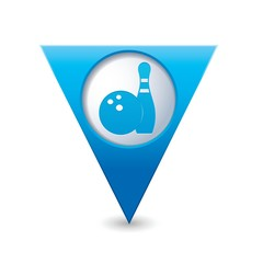 Map pointer with bowling icon. Vector illustration